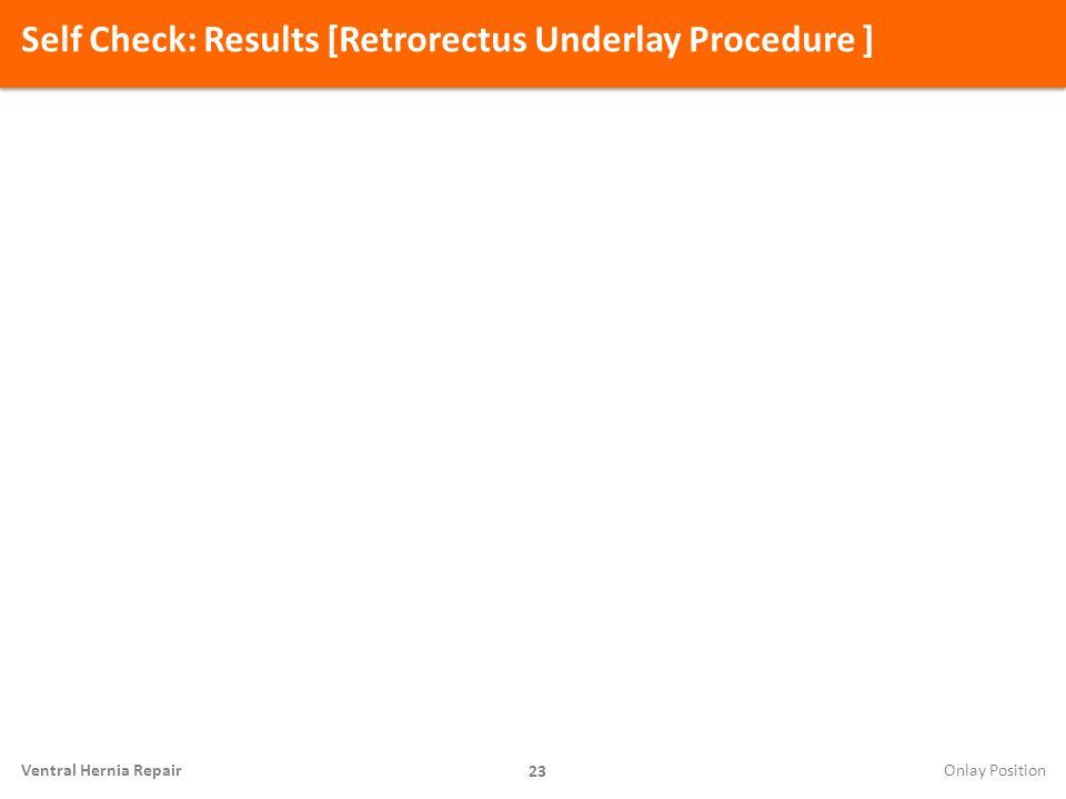 Self Check: Results [Retrorectus Underlay Procedure ]
